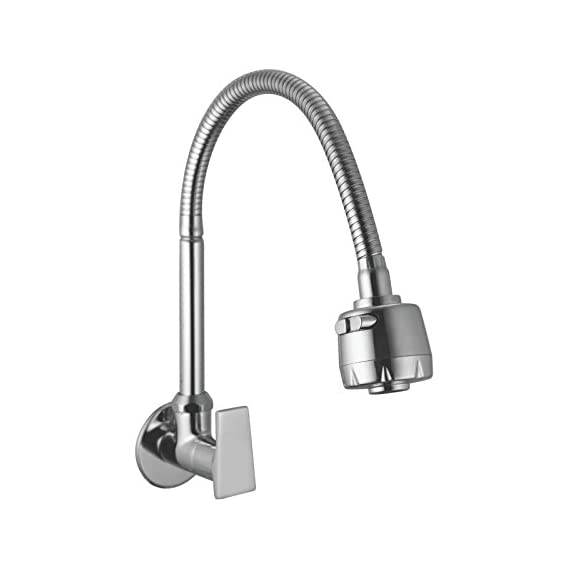 10x Sink Cock Flat with Shower Flow Dual Function Taps and Faucet, Medium Size (Chrome)