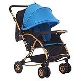 ZWL Bebe Carro Compra Puede Sentarse Reclinada Paraguas Ultraligero Portátil Plegable Niño Carro Cuatro Rondas Bebe Carro Compra,Blue