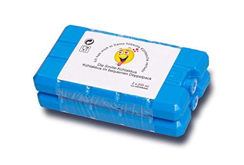 KRONWARE Premium Smiley Kühlakkus - 2er Set [2 x 200ml] Kühlakkus für Kühltasche - Kühlbox Kühlelemente flach 200ml Made in EU