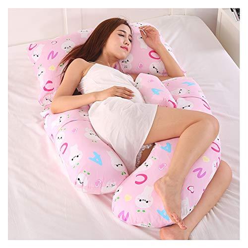 PREDUXYOW Super Luxuriöses G-förmiges Schwangerschaftskissen, Seitenschläferkissen, mit Ersetzbaren & Waschbaren Außenbezügen,Pink_A
