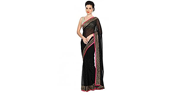 f58f3d1ea0 Black saree embellished in kundan embroidery only on Kalki  Amazon.in   Clothing   Accessories