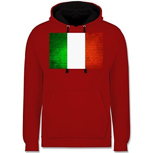 Länder - Flagge Italien - Kontrast Hoodie Rot/Schwarz
