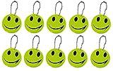 sin4sey 10er Set Reflektierende Anhänger mit Gesicht für Schulranzen/Tasche/Rucksack - Neongelb