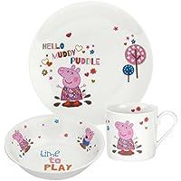 Peppa Pig Geschirrset für Kinder, mit Teller, Schale und Tasse, mehrfarbig