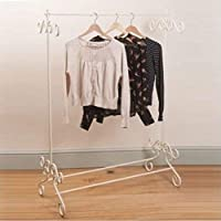 Shabby Chic Vintage Style Clothes Garment Rail Metal Ornate Hanging Stand Cream W 100 x D 48 x H 137cm Approx