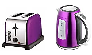 Matching Kitchen Set of Two items: Toaster and Kettle in Purple