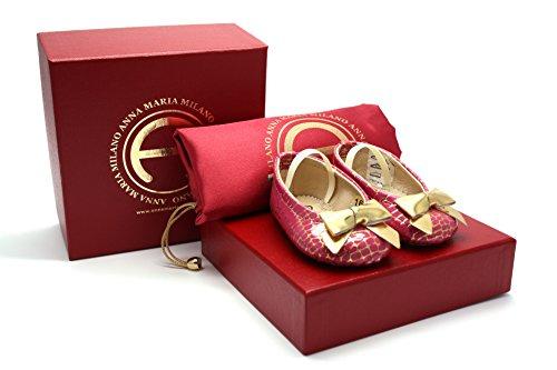 Anna Maria Milano - Fragolina - scarpine neonato - taglia 20 - colore rosa e oro