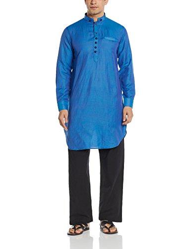 Manyavar Men's Mid-Thigh Cotton Kurta (8903035339539_ML11774-306-M_Blue)