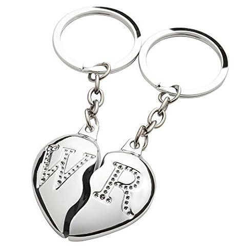 BRUBAKER Partner Anhänger Schlüsselanhänger Geteiltes Herz + Initialen Gravur -Nach Bestellung Auswahl per Mail senden