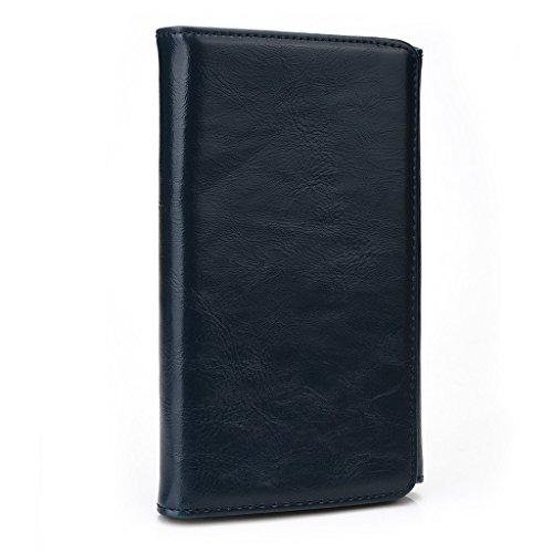 Kroo Portefeuille unisexe avec Samsung ATIV S/S III ajustement universel différentes couleurs disponibles avec affichage écran Marron - marron Bleu - bleu