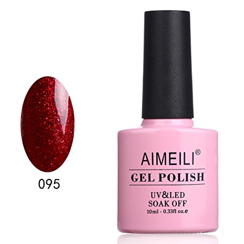 AIMEILI Smalto Semipermente Unghie per Manicure UV LED Smalti per Unghie Gel Soak Off Natale Rosso Glitter Heart Break Red 10ml