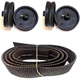 4 Pieces Pulley Wheels + 48inch Rubber Track Belt by TechDelivers