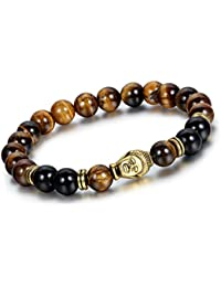 Young & Forever Crystal D'Vine Black Onyx Tiger'S Eye Semi Precious Stone Yoga & Meditation Buddha Reiki Healing Beads Unisex Bracelet