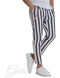Giosal Pantalone Uomo Righe Lino Blu Bianco Casual Cavallo Basso Tasca America
