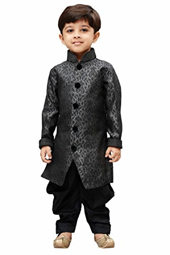 JBN Creation Boys Silk Cotton Sherwani Suit With Patiala Style Cowl Dhoti...