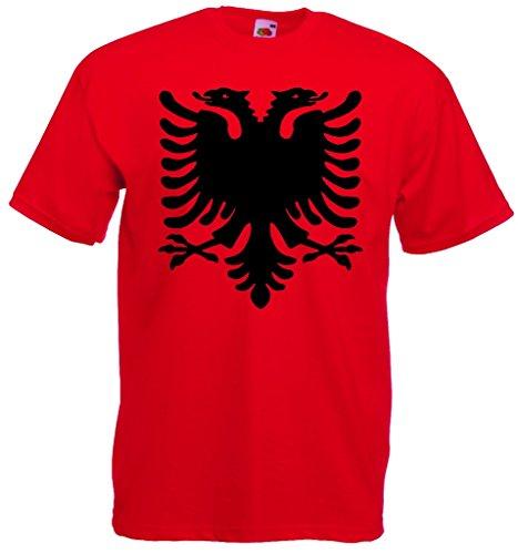 world-of-shirt Herren T-Shirt Albanien Adler Shirt Rot