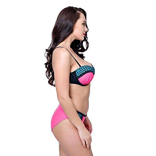 WANGXN Frauen Split Badeanzug Bikini Hit Farbe Big Size Push Up Rose Red
