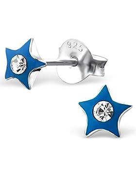 JAYARE Kinder-Ohrstecker Sterne 925 Sterling Silber Emaille Glitzer-Kristalle 5 x 5 mm blau Ohrringe