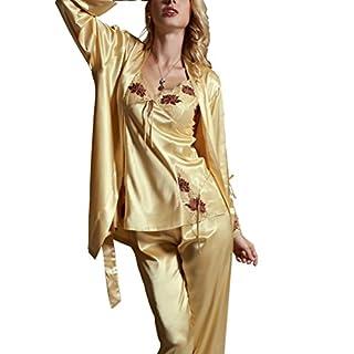 Amybria Frauen Qualitäts Seide Spitze Lange Hülsen Mischung 3Pcs Pyjama Set/Kleid Für Hochzeits Gelb Größe XS/34