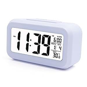 Ankoda® batteriebetriebener LED Digital-Wecker mit extra großem Display, Snooze, Datumsanzeige, Temperatur und Sensor Licht (weiß)