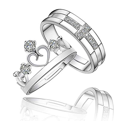 RVM White Sparkling Crystal Heart Crown and Cross Design Adjustable Couple Ring for Men and Women