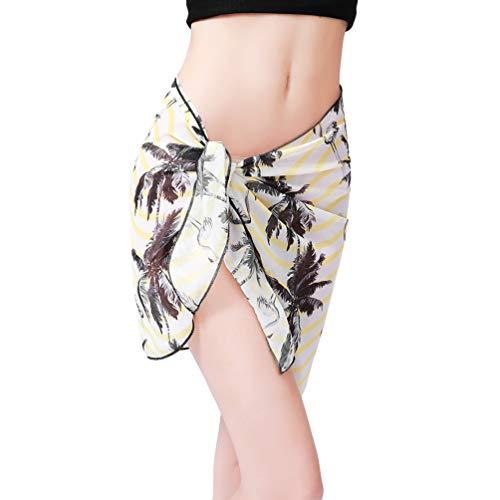 Kairunn Damen Pareo Strand Sarong Chiffon Wickelrock Drucken Badeanzug Wrap Strandkleid Rüschen Gelbe Kokosnuss 140 * 50cm