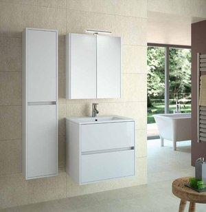 Conjunto de mueble de baño en 60o 80cm). Noja Schwan 600–800con espejo armario y foco led- acabado color blanco