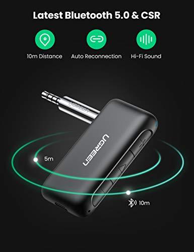 UGREEN Receptor Bluetooth 5.0 CSR Chip,  Bluetooth Coche Jack 3.5,  CVC8.0 Redución de Ruido,  Llamada Manos Libre,  Adaptador Audio Inalámbrico 9Hrs A2DP Estéreo Música para Coche,  Amplificador,  Altavoz