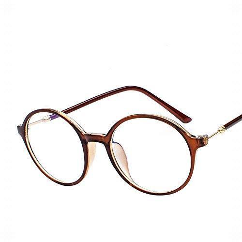 WULE-RYP Polarisierte Sonnenbrille mit UV-Schutz Runder Retro großer Rahmen-Glas-Flacher Spiegel-Studenten-Mode-Computer-Spiegel. Superleichtes Rahmen-Fischen, das Golf fährt (Farbe : Lingh Brown)