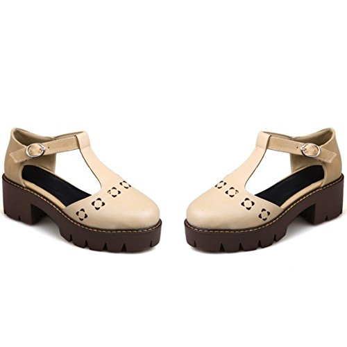TAOFFEN Damen Retro Chunky Heel Geschlossene Toe T-Spange Schnalle Sommer Sandalen 712 Aprikose