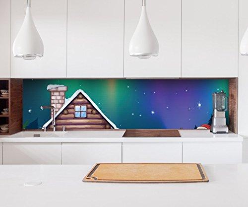 Aufkleber Küchenrückwand Weihnachten Elfen Fabrik Dach Haus Kinderzimmer Sterne Folie Fliesen Möbelfolie Spritzschutz 22A1186, Höhe x Länge:60cm x 60cm