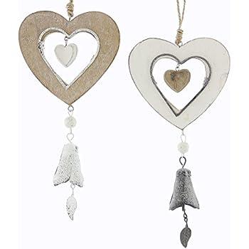 45cm Fensterde CHICCIE Deko Holz Herz Girlande Hängedeko mit Stöcken und Perlen