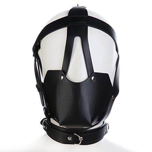 Raycity Black Head Pferd Leder Bondage Restraint Gimp Mund Ball Gag Maske T27