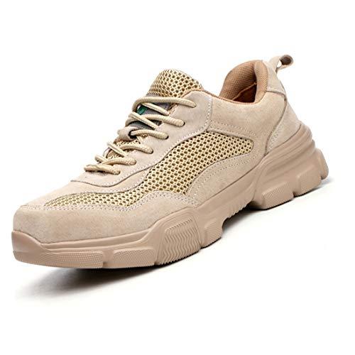 Scarpe Antinfortunistiche Uomo Donna con S3 Punta in Acciaio, Sneaker da Lavoro Leggere ed Eleganti, Sneaker da Cantiere Uomo,Flesh,EU38