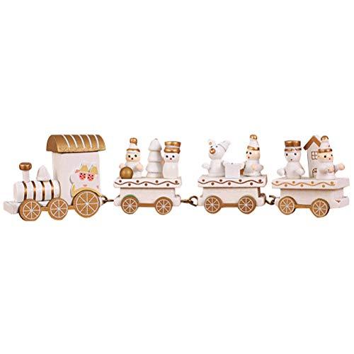 BESTOYARD Holz Zug Dekoration Weihnachten Mini Zug für Kinder nach Hause Xmas Party Kindergarten Dekor (weiß) (Weihnachten Zug Dekorationen)