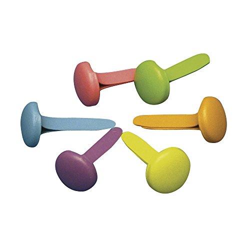 Rayher 7835449 Brads rund, Kopf 8 mm ø, Länge 16 mm, Blisterbox 50 Stück, 6 Pastell-Farben gemischt, Musterklammern, Spreizklammern