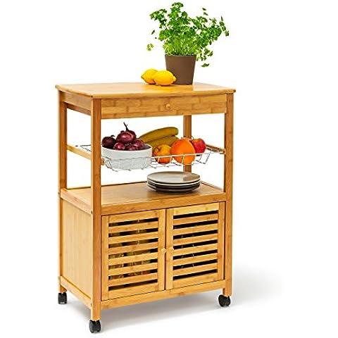 Relaxdays James isla carrito de cocina con cajón, de bambú con ruedas carrito de cocina de madera con bandeja grande y cesta de almacenamiento con ruedas carro con puertas, 80x 60x 35cm, XL,