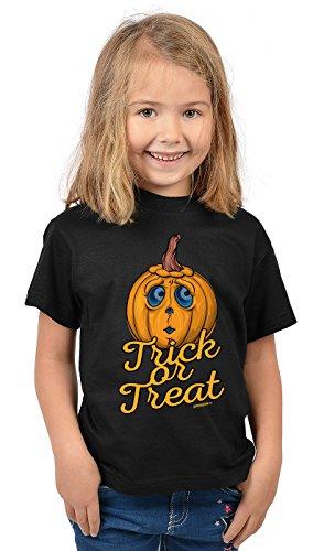 Kinder Halloween T-Shirt - Kindershirt Halloweenparty : Trick or Treat - Kinder Tshirt Spruch lustiger Kürbis Gr: L = 146-152
