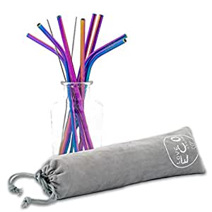 4b7baa73863 Love ECO Stainless Steel Straws– Beautiful Rainbow Colour ECO FRIENDLY  Metal Straws For The Eco Conscious – With 2 Cleaning Brushes – Reusable ...