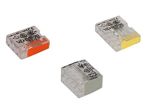 Dosenklemmen Steckklemmen Verbindungsklemmen Set transparent 3/5/8 polig 0,5 bis 2,5 mm, Menge:180