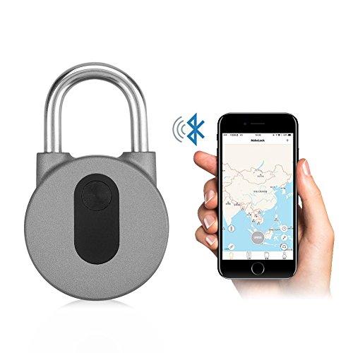 Bluetooth Vorhangschloss, Smart Vorhängeschloss aus Aluminiumlegierung IP-66 Wasserdicht mit APP für Android- und iOS-Systeme für Türen, Rucksäcke, Fahrräder, Aufbewahrungsfächer usw