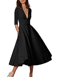70e05685e8db Vestito da Donna    Fami Swing Dress da Donna con Balze Lunghe da Donna (