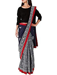 [Sponsored]Tjori Indigo Hand Block Printed Saree With Pink Border In 100% Cotton Voile