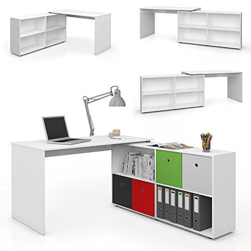 Eckschreibtisch 137 x 75 cm Weiß - Schreibtisch Arbeitstisch Winkelschreibtisch Bürotisch Winkelkombination