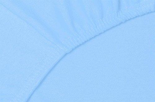 Double Jersey - Spannbettlaken 100% Baumwolle Jersey-Stretch bettlaken, Ultra Weich und Bügelfrei mit bis zu 30cm Stehghöhe, 160x200x30 Himmelblau - 5