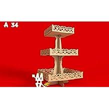 Kit para hacer bandejas cuadradas 3 pisos de madera DM para candy bar mesa dulce.