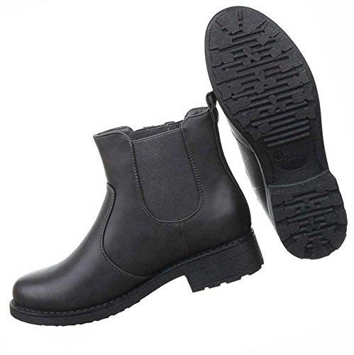 Damen Boots Schuhe Stiefeletten In Used Optik Schwarz Grau Braun Rot 36 37 38 39 40 41 Grau