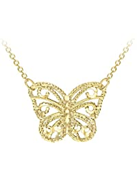 Carissima Gold 9ct Yellow Gold Diamond Cut Butterfly Adjustable Necklace of Length 41-46cm