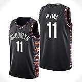 Decheng Kyrie Irving Brooklyn Nets Jersey # 11 City Edition Bordado Cosido Jersey de los Hombres Camiseta de Baloncesto (Negro & Color, M(48))