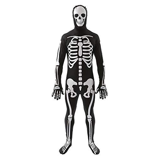 (FOONEE 3D Skelett-Kostüm Skelett Onesie Skelett Halloween Kostüm Erwachsene Halloween Gruseliges Kleid Up Totenkopf Outfit für Männer, Large)